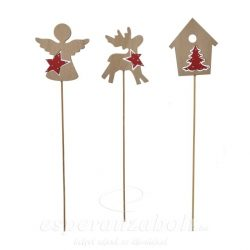 Betűző angyal/szarvas/házikó fa natúr, piros 3db/szett 30cm