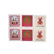 Bélyeg, öntapadós, karácsonyi mintával fa piros 3 féle ragasztós kellék