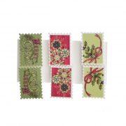 Bélyeg, öntapadós, karácsonyi mintával fa színes 6 féle ragasztós kellék