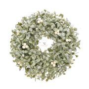 Ajtódísz buxus, fagyönggyel, glitteres műanyag 50,8 cm zöld, fehér karácsonyi ajtódísz