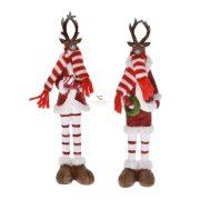 Szarvas sállal,kabátban poly 5x4,5x22cm piros 2 féle karácsonyi figura