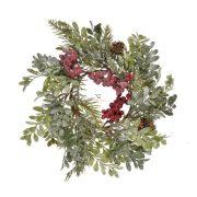 Ajtódísz buxus, piros bogyóval műanyag 30 cm zöld karácsonyi ajtódísz