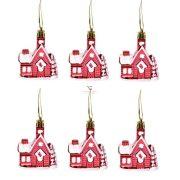 Házikó dísz akasztós műanyag 5,5x7 cm piros 6 db-os Figurás karácsonyfadísz