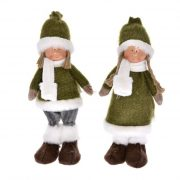 Gyerek álló textil 12x10x31cm zöld 2 féle karácsonyi figura