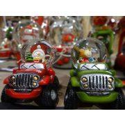 Rázógömb Kisautó hóemberrel/szarvassal poly 7x9,8x7,8cm piros, zöld 2 féle karácsonyi hógömb
