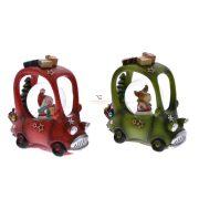 Rázógömb Dobozos autó hóemberrel/szarvassal poly 5,5x11,5x11,5cm piros, zöld 2 féle karácsonyi hógömb