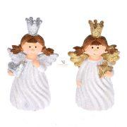 Angyal álló szívvel/csillaggal glitteres poly 4x3x6 fehér 2 féle karácsonyi figura