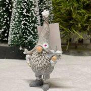 Törpe csillaggal/haranggal álló poly 5,5x4x10,5 szürke 2 féle karácsonyi figura