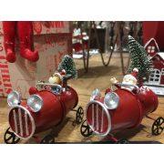 Kocsi fenyővel télapóval/szarvassal fém 5,5x8,5x9,5 piros 2 féle karácsonyi autó