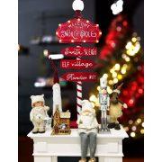 Törpe glitteres lógólábú poly 24,7x23,5x34,8 cm fehér, szürke karácsonyi figura
