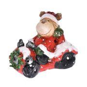 Rénszarvas autóban poly 13,5x8,5x11 cm piros, fehér karácsonyi LED figura