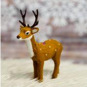 Szarvas álló műanyag, textil 13x5x15cm világos barna karácsonyi figura