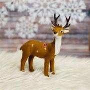 Szarvas álló műanyag, textil 13x6x15,5cm világos barna karácsonyi figura