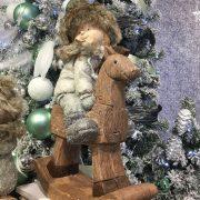 Gyerek hintalovon,kerámia 32x16x46cm barna 2 féle karácsonyi figura