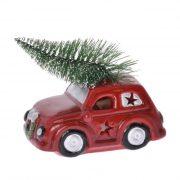 Autó LED világítással kerámia 9x5,5x11,5cm piros karácsonyi autó