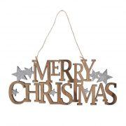 """""""Merry Christmas"""" felirat akasztós fa 25,5x10,5cm natúr, ezüst karácsonyi ajtódísz"""