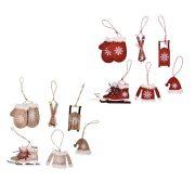 """""""Téli örömök"""" dekorációs szett, akasztós fa 7cm piros, natúr 2 féle 6 db-os fa karácsonyfadísz"""