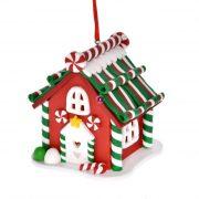 Ház világítással, akasztós agyag 7x7x9 piros, zöld karácsonyi LED figura