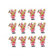 Medve karácsonyi jelmezben fa 4x3cm zöld,piros,fehér 12db/cs dekorációs kiegészítő