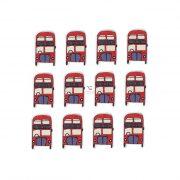 Busz Merry Christmas felirattal fa 4X2,5cm zöld,piros,fehér 12db/cs dekorációs kiegészítő