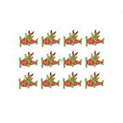 Szarvas repülőben fa 5,5x4,5cm zöld,piros,fehér  12db/cs dekorációs kiegészítő
