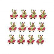 Szarvas autóban fa 4,5x4cm zöld,piros,fehér 12db/cs dekorációs kiegészítő