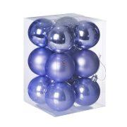 Gömb, dobozban műanyag 6cm sötét lila 3 féle 12db/cs dekorációs kiegészítő