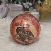 Karácsonyfa Gömb gyerekkel glitteres papír 14 cm piros
