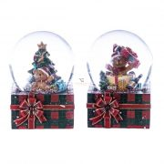 Rázógömb ajándékdobozon, macival poly 4,5x4,8x6,3cm piros,zöld 2 féle karácsonyi hógömb