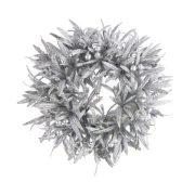 Karika levelekből glitteres műanyag 18 cm ezüst