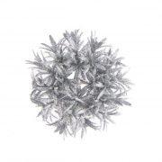 Karika levelekből glitteres műanyag 14 cm ezüst