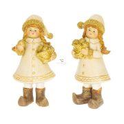 Kislány almáskosárral álló glitteres poly 7x5x14 cm arany 2 féle karácsonyi figura