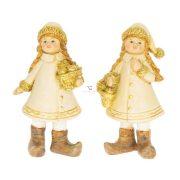 Kislány almáskosárral álló glitteres poly 5x3x10,5 cm arany 2 féle karácsonyi figura