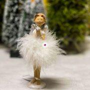 Angyal szívvel, csillaggal álló poly 6x5x15 fehér 2 féle karácsonyi figura