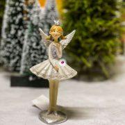 Angyal koronával álló poly 7,5x5,5x16 szürke 2 féle karácsonyi figura