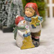 Gyerek karácsonyfával, hóemberrel álló LED poly 14,5x8x16 cm színes 2 féle karácsonyi figura