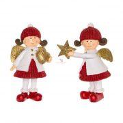 Angyal csillaggal,szívvel álló poly 5,5x4x9cm piros/fehér/arany 2 féle karácsonyi figura