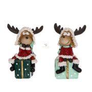 Szarvas ajándékon ülő poly 4x3x6,5cm piros/zöld 2 féle karácsonyi figura
