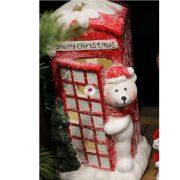 Telefonfülke jegesmedvével kerámia 16x17,5x31cm fehér, piros karácsonyi figura