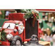 Autó írható táblával kerámia 42x18x34cm piros,fekete karácsonyi figura