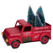 Teherautó fenyővel fém 45,5x24,5x35 cm piros karácsonyi figura