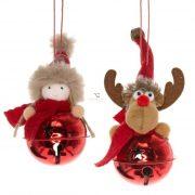 Csengő szarvassal, gyerekkel akasztós textil,fém 16 cm piros 2 féle textil karácsonyfadísz