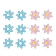 Virág öntapadós poly 2,7x2,6x0,3cm rózsaszín,kék 12 db-os szett