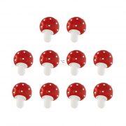Gomba öntapadós poly 2,1x0,5x2,5cm piros 10 db-os szett