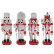 Diótörő figura fehér fa 9cm 4 féle figurás karácsonyfadísz