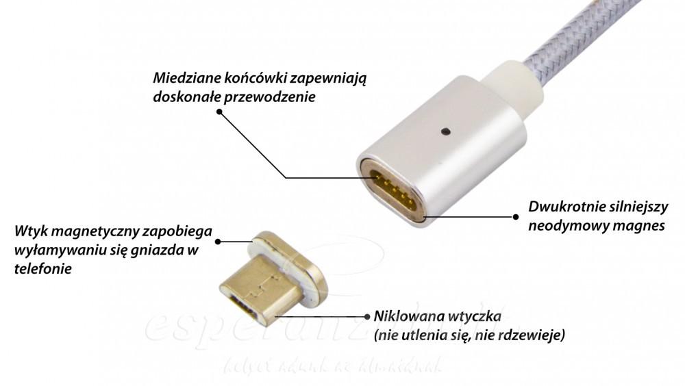 Esperanza Micro USB 2.0 A B MM mágneses töltő kábel EB230