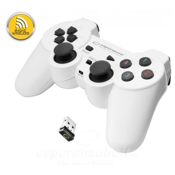 Esperanza Wireless Gamepad 2.4Ghz Ps3/PC Usb Gladiator Fekete Fehér EGG108W