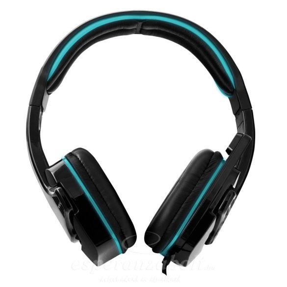Esperanza Raven Fejhallgató mikrofonnal kék EGH310B