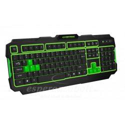 Esperanza Shadow Illuminated Világító Gamer Billentyűzet Zöld EGK202G