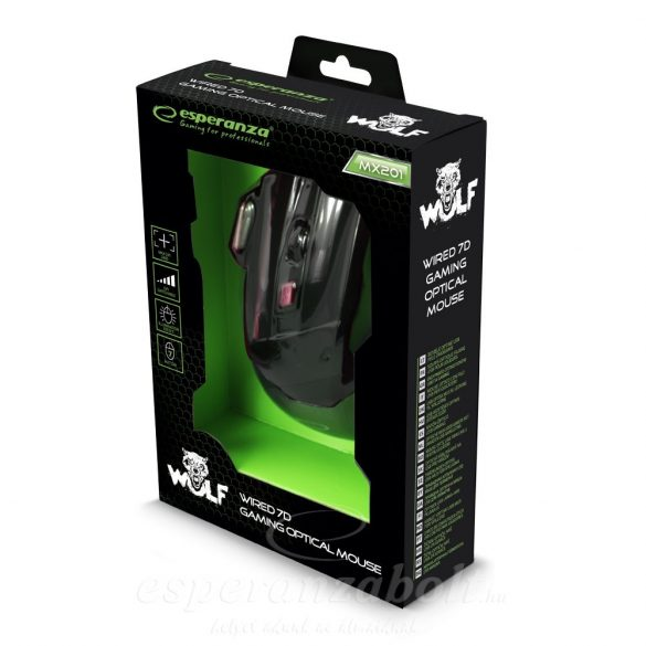 Esperanza Gaming Egér 7D Opt. Usb Mx201 Wolf Red